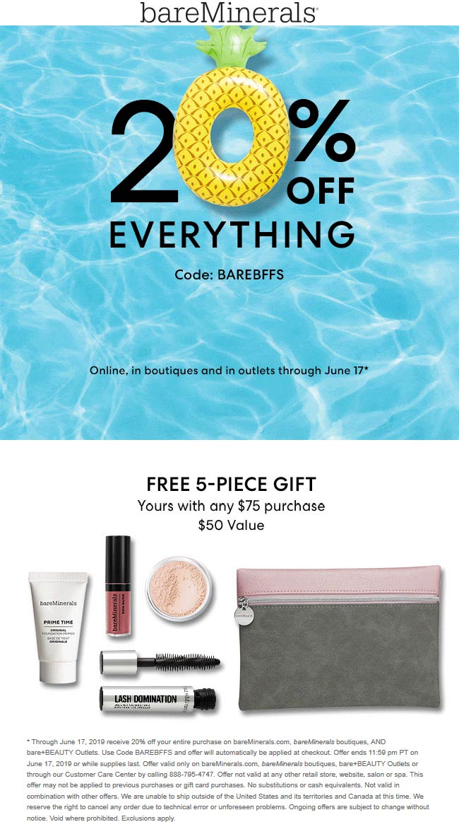 bareMinerals Coupon June 2019 20% off everything at bareMinerals, or online via promo code BAREBFFS