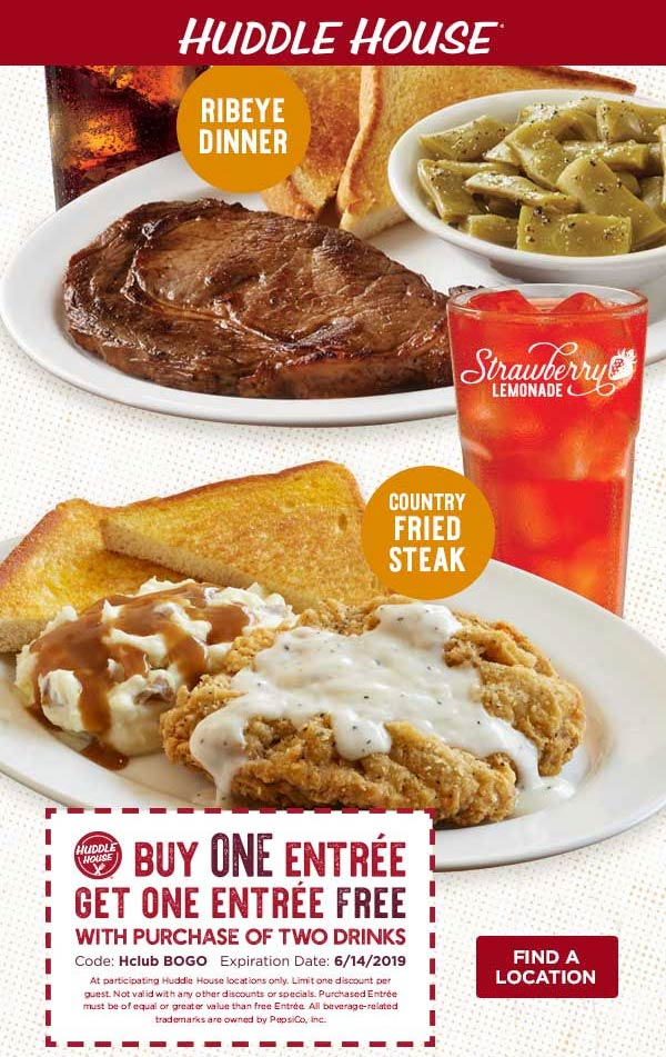 Huddle House Coupon June 2019 Second entree free at Huddle House