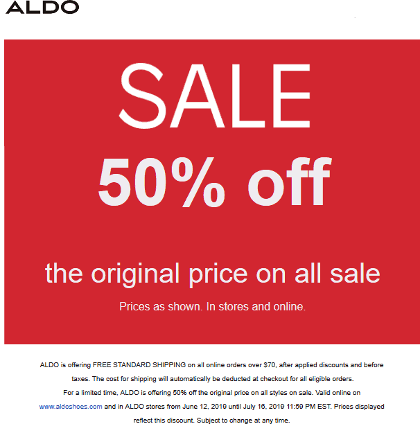 Aldo Coupon July 2019 50% off sale items at Aldo, ditto online
