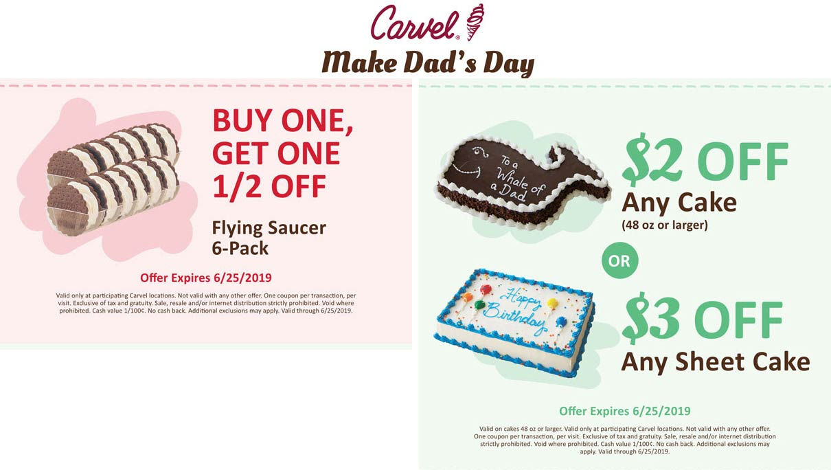 Carvel Coupon November 2019 $2-$3 off ice cream cake & more at Carvel