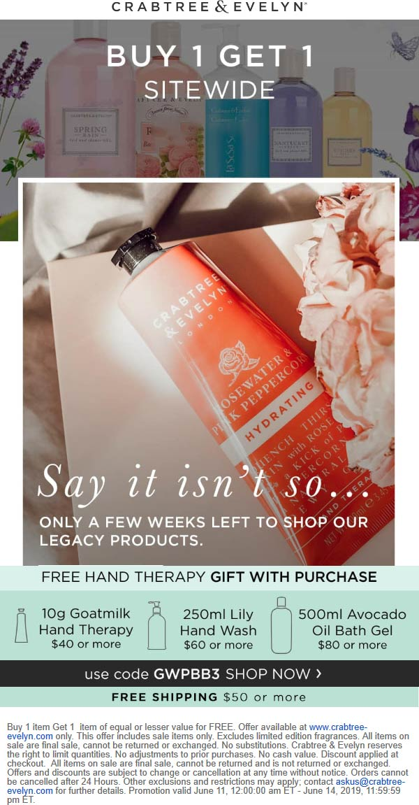 Crabtree & Evelyn Coupon August 2019 Second item free on everything online at Crabtree & Evelyn