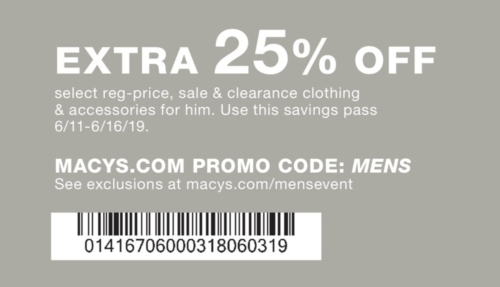 Macys.com Promo Coupon 25% off mens at Macys, or online via promo code MENS