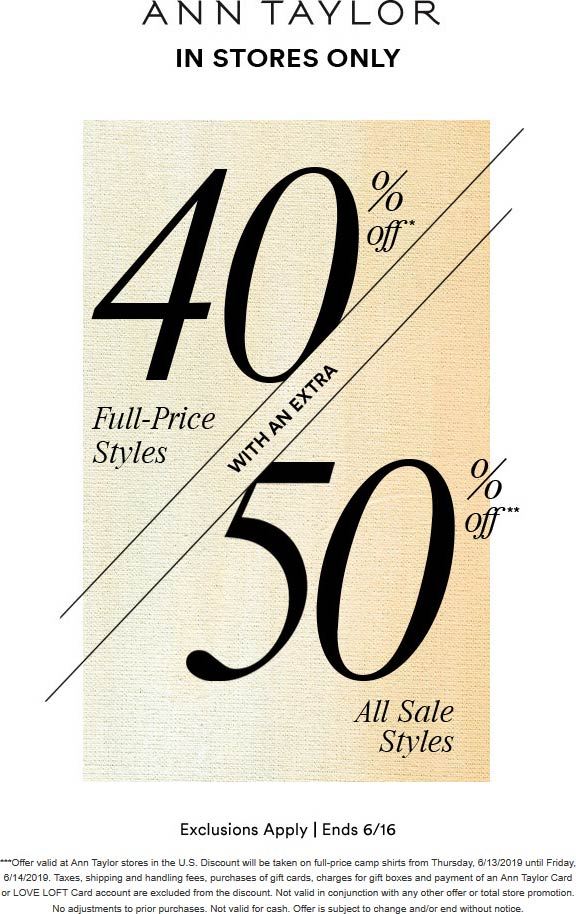 AnnTaylor.com Promo Coupon 40-50% off at Ann Taylor