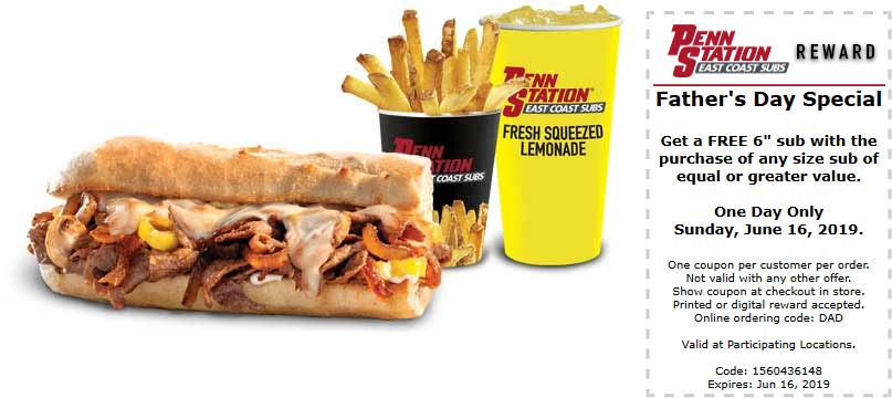Penn Station Coupon June 2019 Second sub sandwich free Sunday at Penn Station