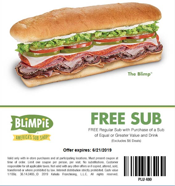 Blimpie.com Promo Coupon Second sub sandwich free at Blimpie