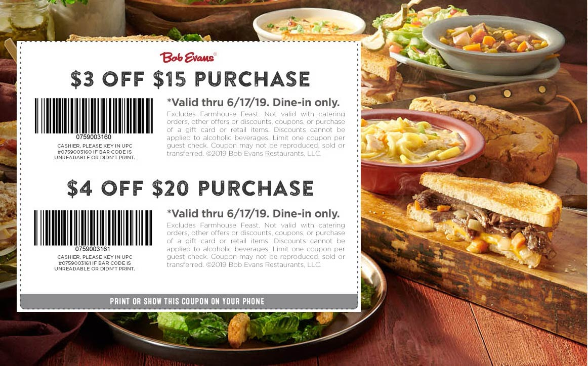 Bob Evans Coupon June 2020 $3-$4 off at Bob Evans restaurants