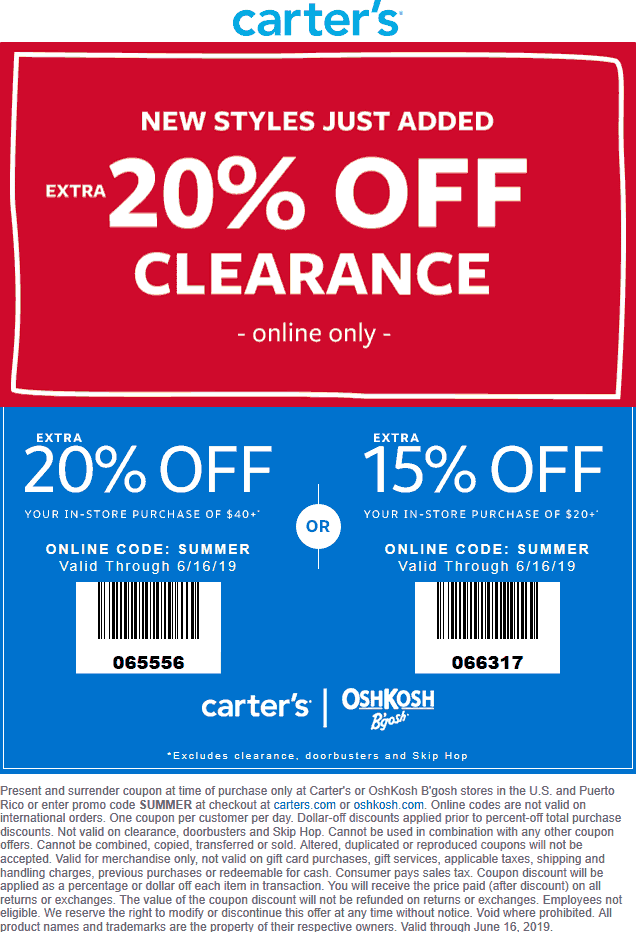 Carters.com Promo Coupon 15-20% off at Carters, or online via promo code SUMMER