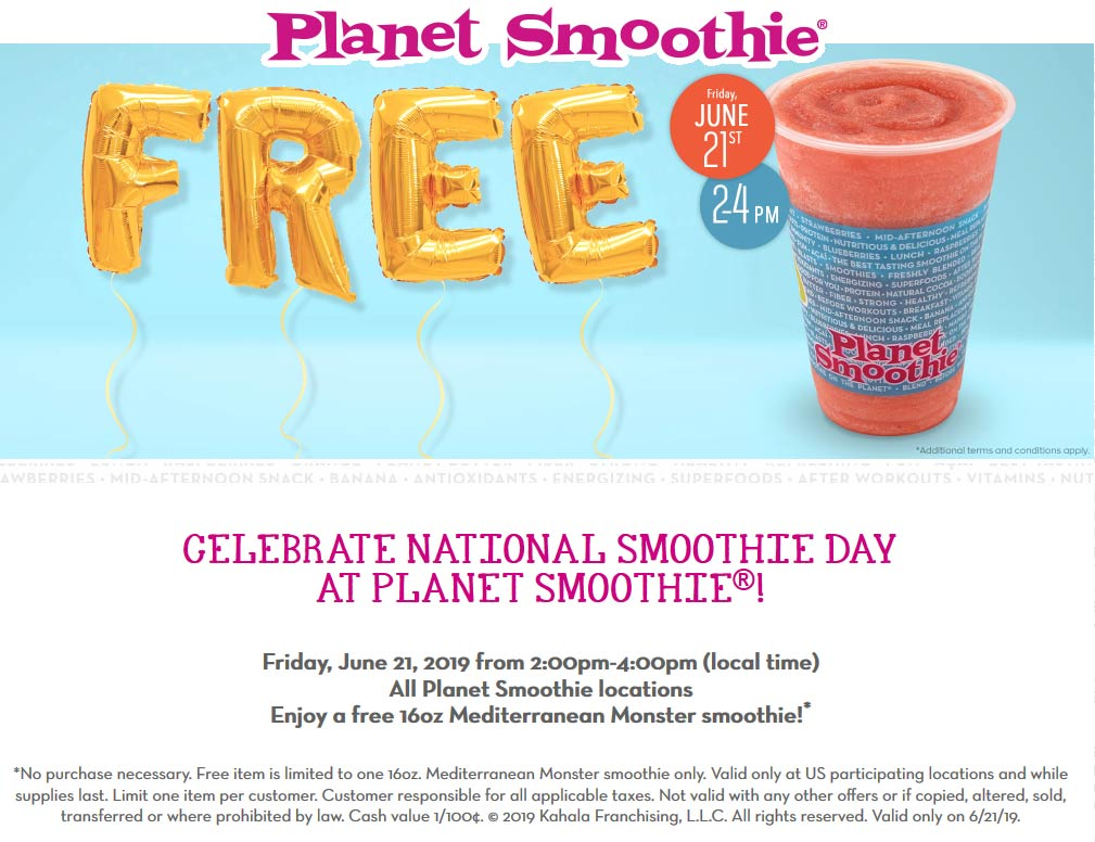 Planet Smoothie Coupon August 2019 Free smoothe the 21st at Planet Smoothie