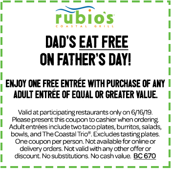 Rubios Coupon November 2019 Second entree free Sunday at Rubios