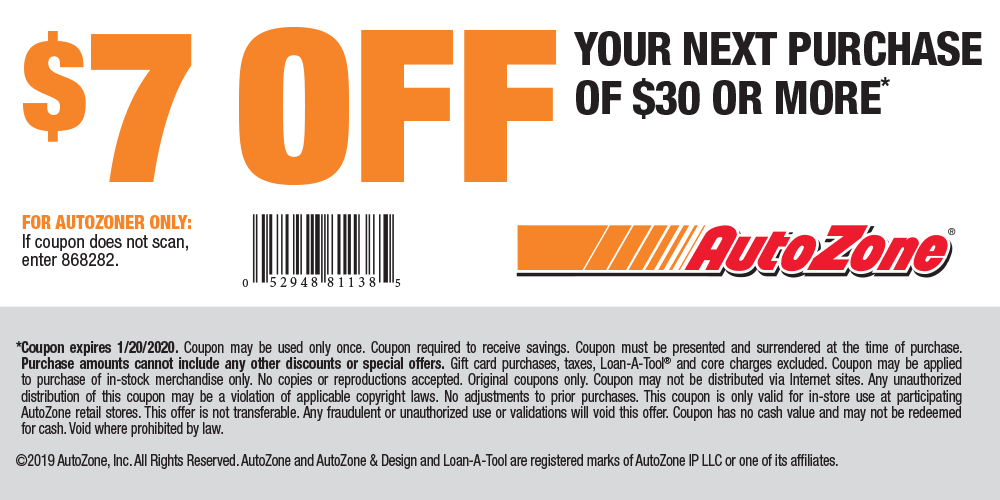 AutoZone.com Promo Coupon $7 off $30 at AutoZone, or online via promo code ALLSTATE6