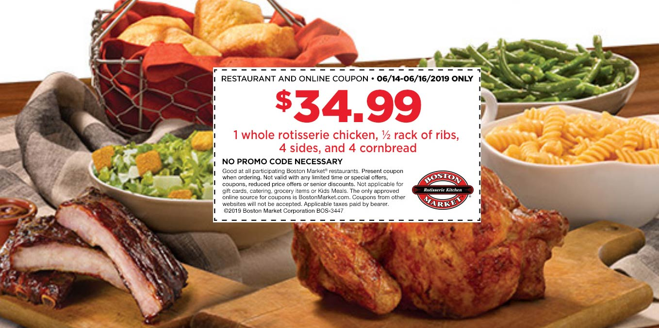 BostonMarket.com Promo Coupon Half ribs + whole chicken + 4 sides = $35 at Boston Market