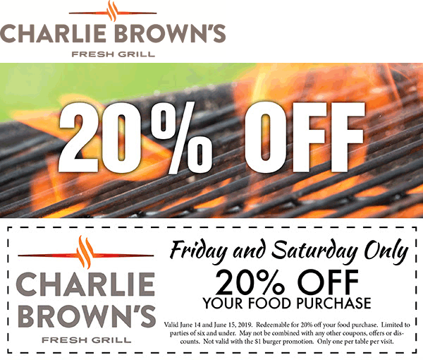 CharlieBrowns.com Promo Coupon 20% off at Charlie Browns fresh grill