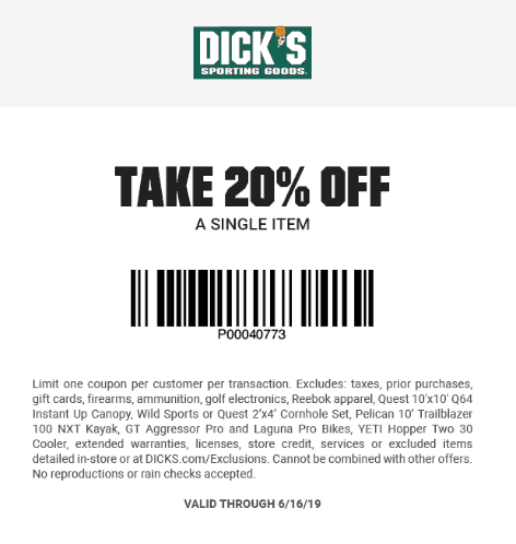 Dicks Coupon August 2020 20% off a single item at Dicks sporting goods, ditto online