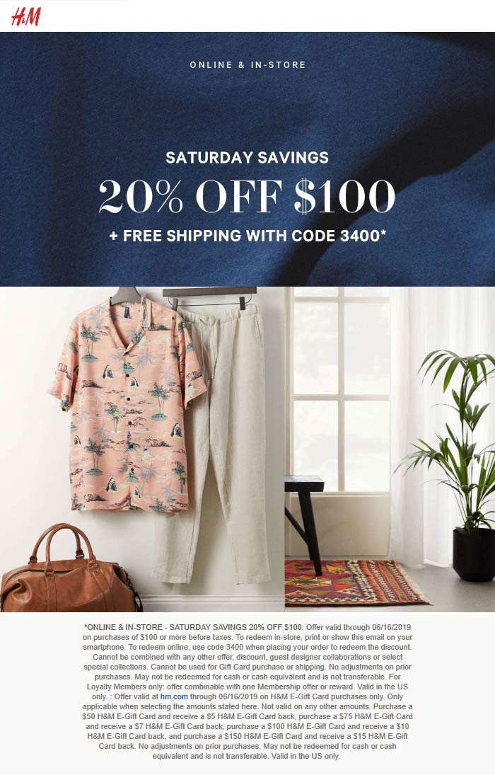 H&M Coupon July 2019 20% off $100 at H&M, or online via promo code 3400