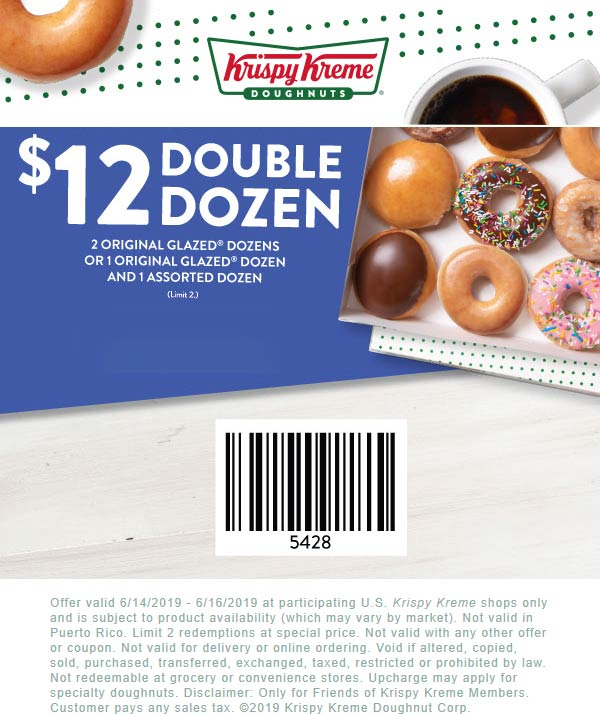Krispy Kreme Coupon August 2019 Two dozen doughnuts for $12 at Krispy Kreme