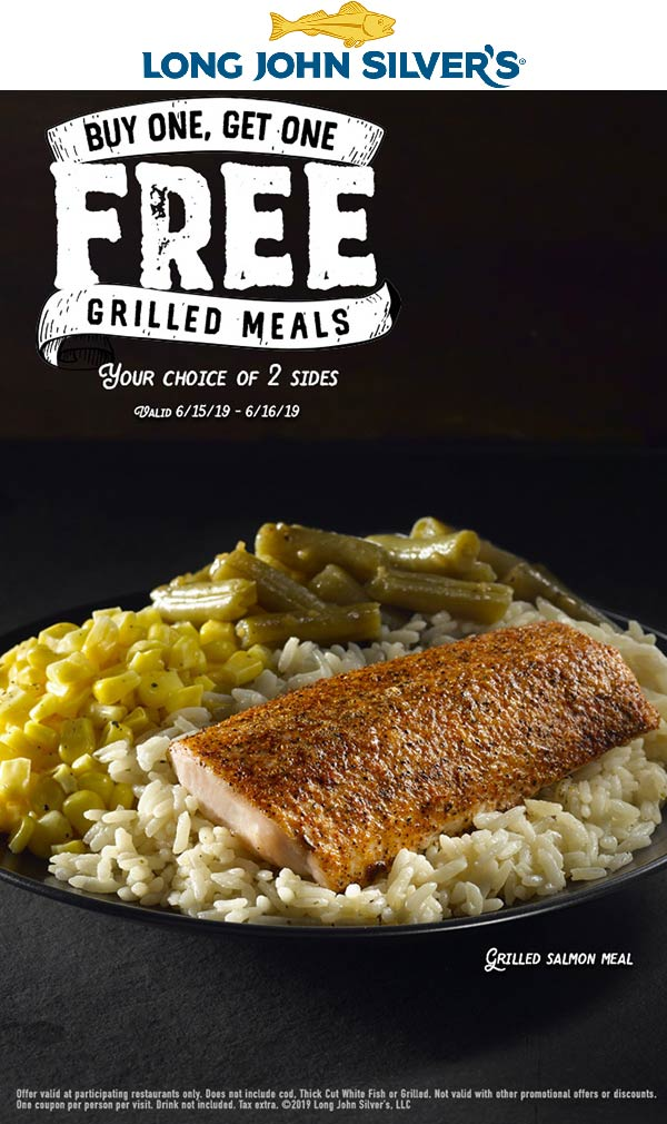 Long John Silvers Coupon July 2019 Second grilled meal free at Long John Silvers