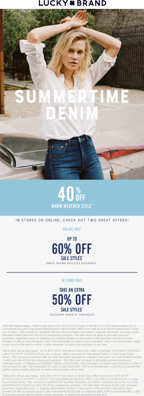Lucky Brand Coupon November 2019 Extra 50% off sale items & more at Lucky Brand