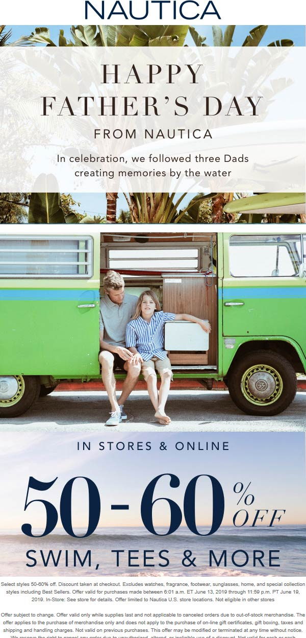 Nautica Coupon July 2019 50% off swim, tees & more at Nautica, ditto online