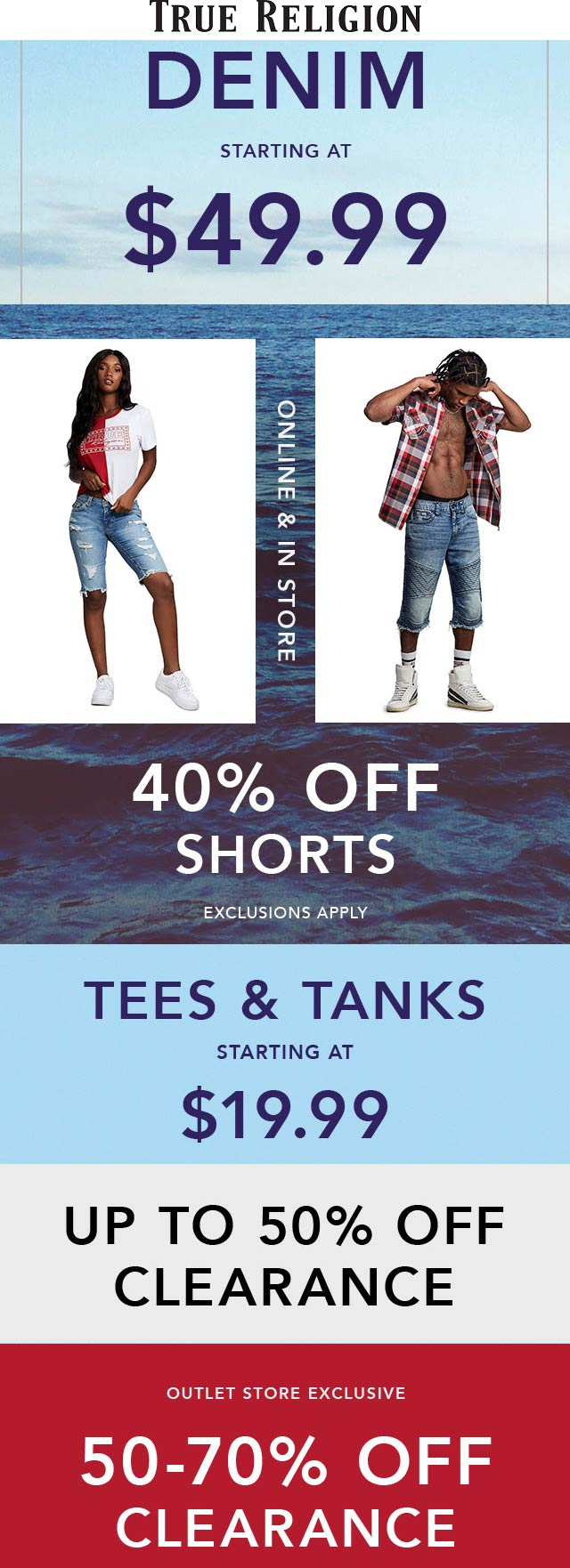 TrueReligion.com Promo Coupon 40% off shorts at True Religion, ditto online