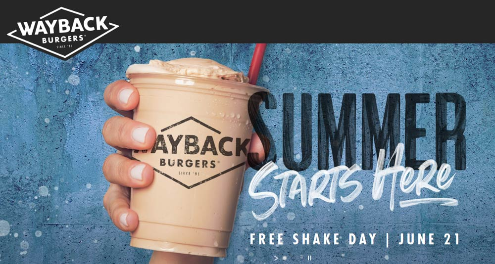 Wayback Burgers Coupon January 2020 Free shake Friday at Wayback burgers