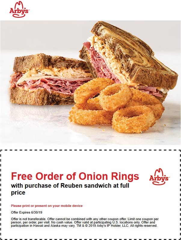 Arbys.com Promo Coupon Free onion rings with your Reuben sandwich at Arbys