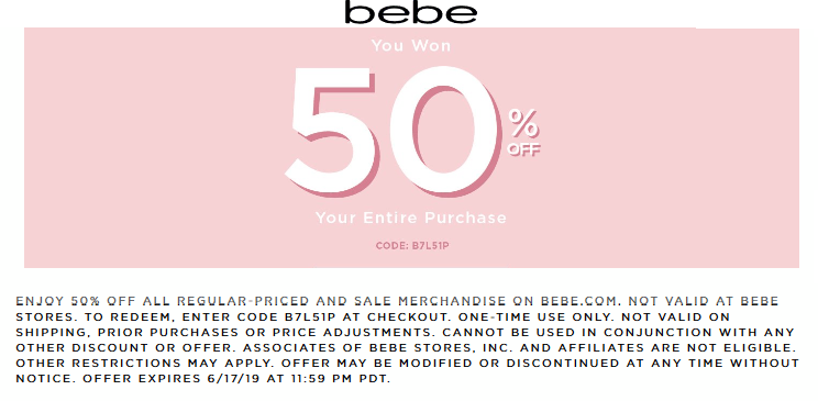 Bebe Coupon February 2020 50% off everything online today at bebe via promo code B7L51P