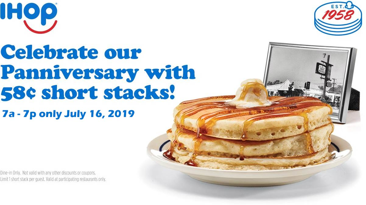 IHOP Coupon September 2019 .58 cent short stack pancakes the 16th at IHOP