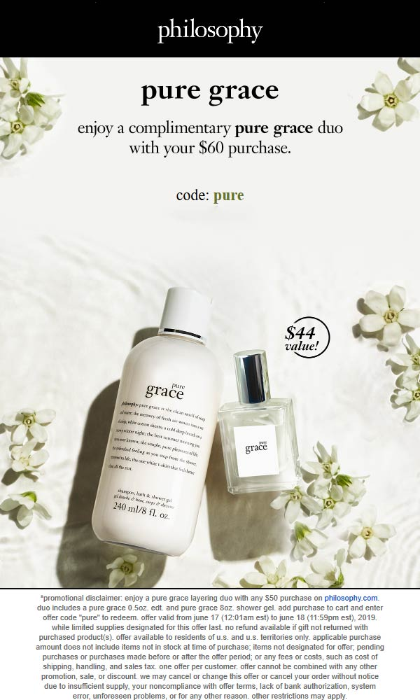 Philosophy Coupon January 2020 Free $44 set with $60 spent online at Philosophy via promo code PURE