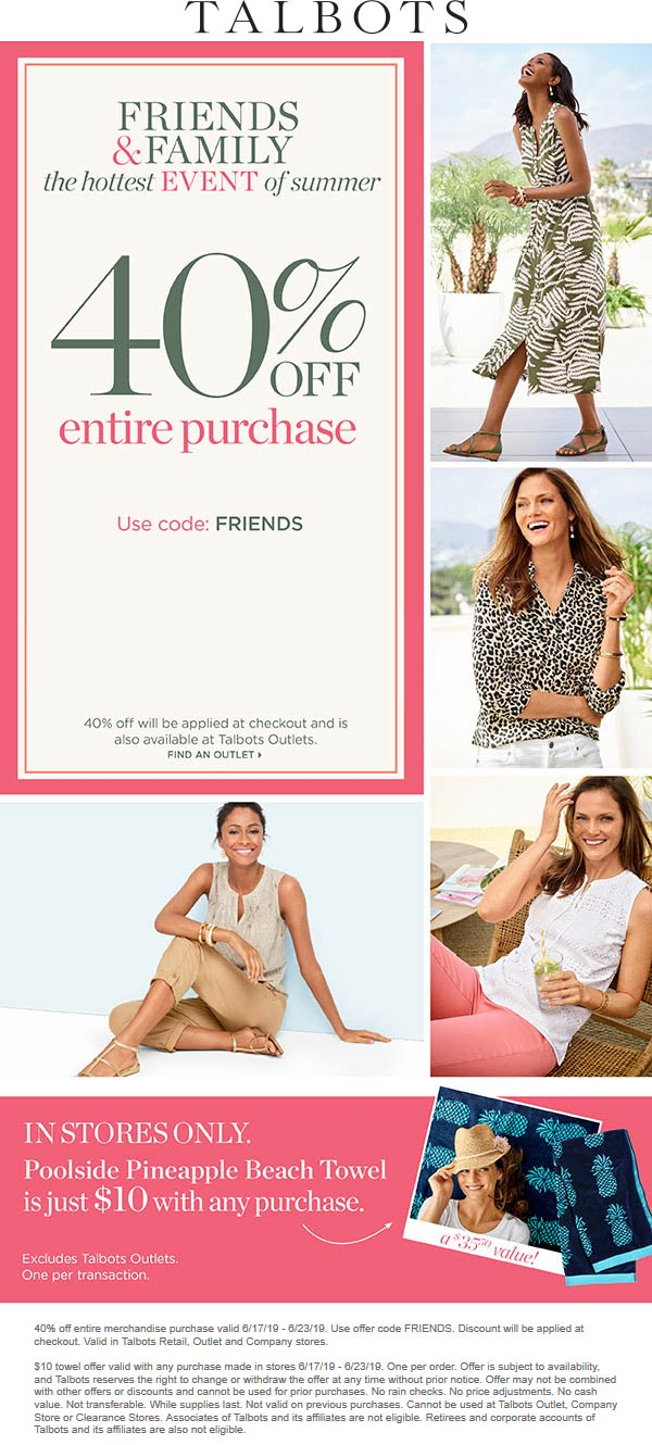 Talbots.com Promo Coupon 40% off at Talbots, or online via promo code FRIENDS