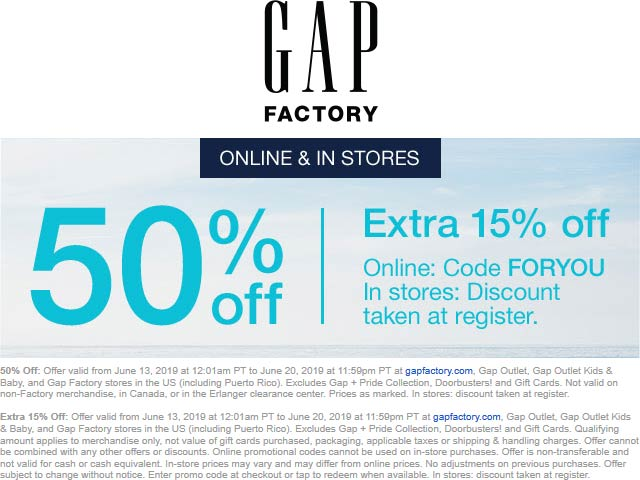 Gap Factory Coupon July 2019 65% off at Gap Factory, or online via promo code FORYOU