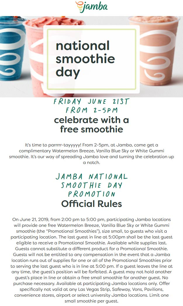 Jamba Coupon January 2020 Free smoothie Friday at Jamba