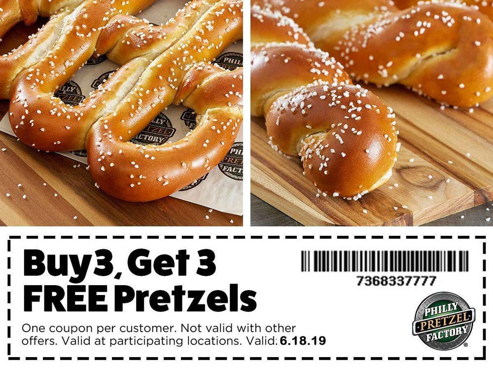 Philly Pretzel Factory Coupon July 2019 6-for-3 today at Philly Pretzel Factory