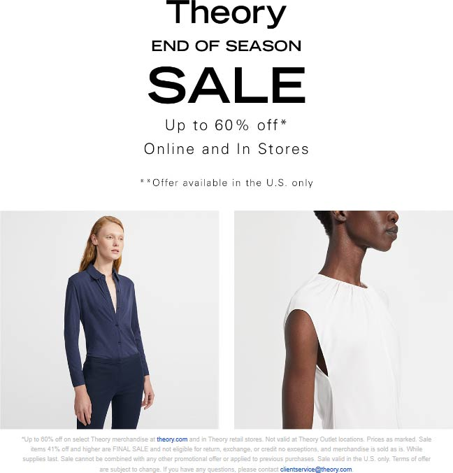Theory Coupon January 2020 60% off sale going on at Theory, ditto online