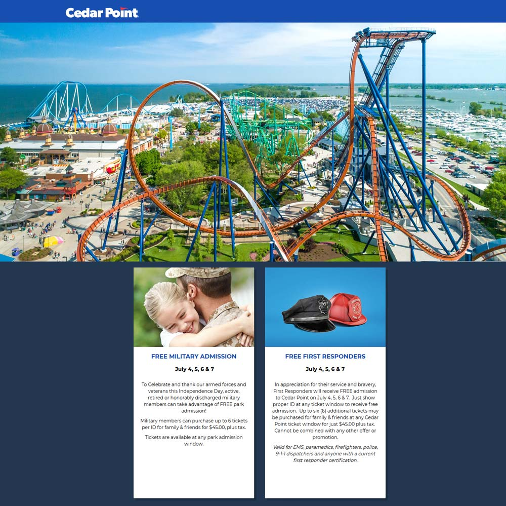 Cedar Point Coupon July 2020 First responders & military are free the 4-7th at Cedar Point amusement park
