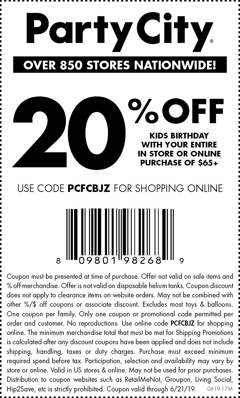 Party City Coupon November 2019 Kids birthday is 20% off at Party City, or online via promo code PCFCBJZ
