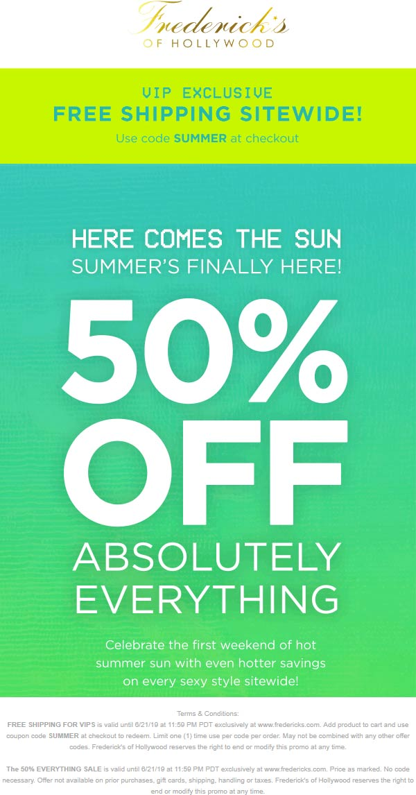 FredericksofHollywood.com Promo Coupon 50% off everything at Fredericks of Hollywood plus free shipping via promo code SUMMER