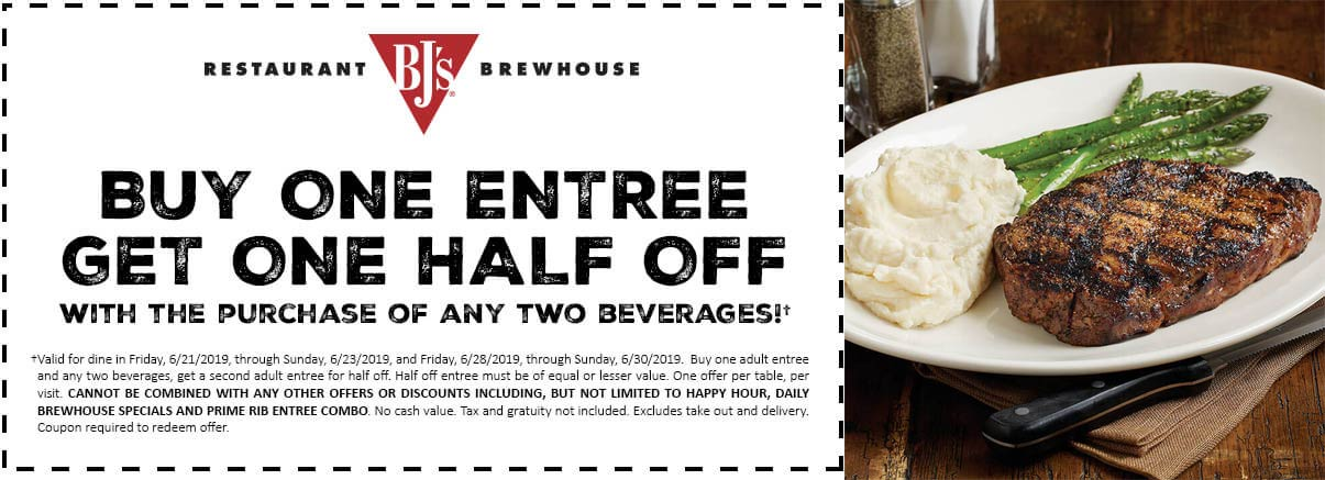 BJs Restaurant Coupon June 2020 Second entree 50% off at BJs Restaurant Brewhouse