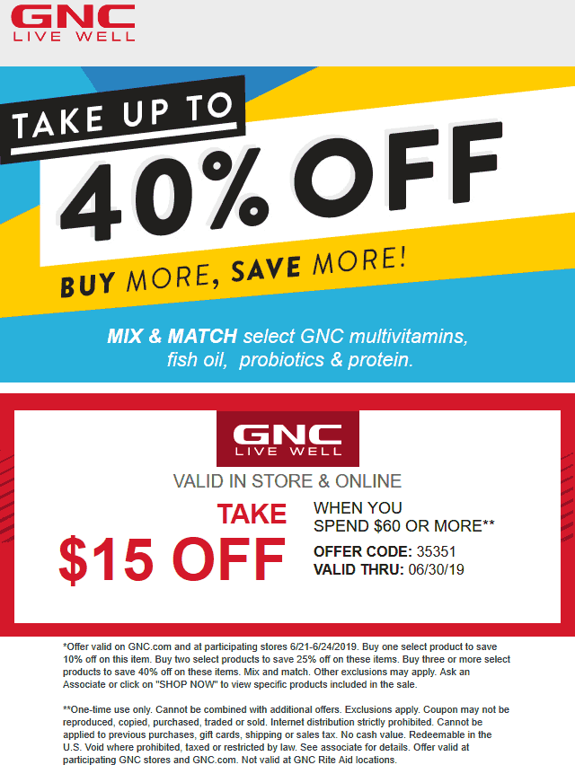GNC Coupon November 2019 $15 off $60 at GNC, or online via promo code 35351