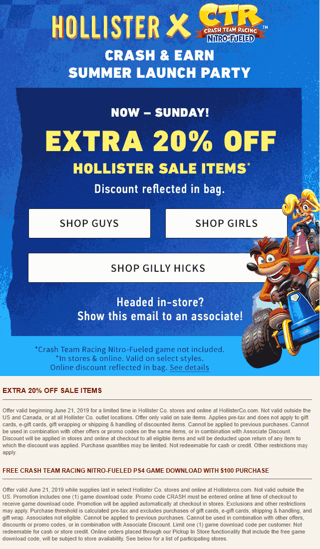 Hollister Coupon September 2019 Extra 20% off sale items at Hollister, ditto online