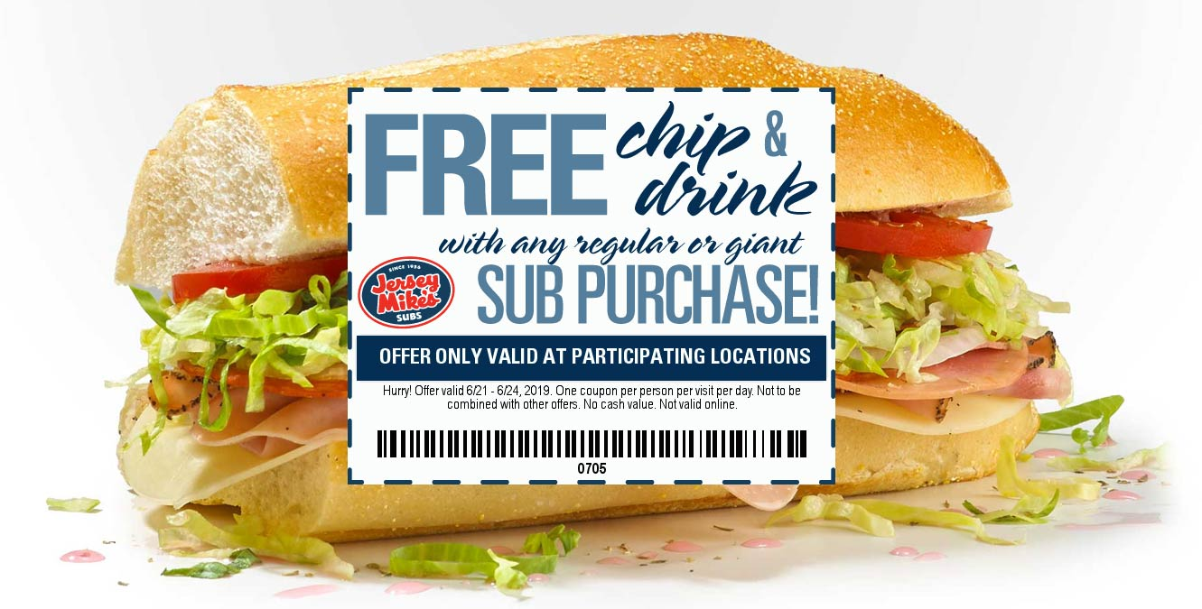 Jersey Mikes Coupon August 2020 Free chips & drink with your sub sandwich at Jersey Mikes