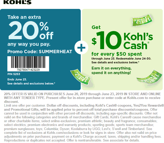 Kohls.com Promo Coupon 20% off at Kohls, or online via promo code SUMMERHEAT