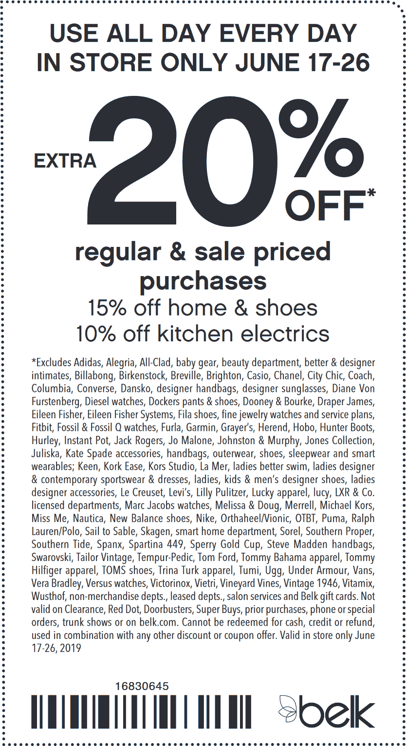 Belk Coupon January 2020 Extra 20% off at Belk, or online via promo code ENDLESSSUMMER