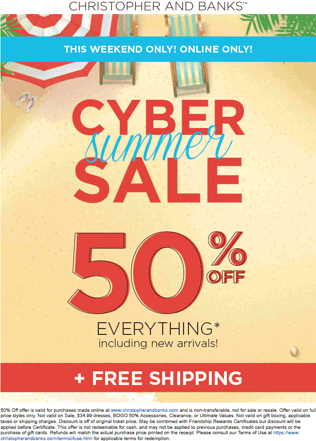Christopher And Banks Coupon July 2020 50% off everything online at Christopher and Banks