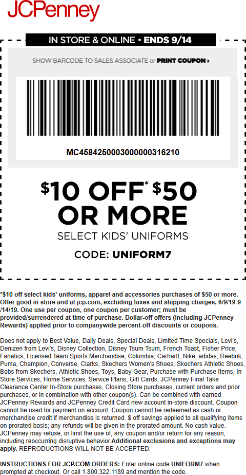 JCPenney Coupon September 2019 $10 off $50 on kids uniforms at JCPenney, or online via promo code UNIFORM7