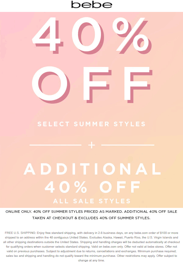 Bebe Coupon August 2019 Extra 40% off sale items online today at bebe