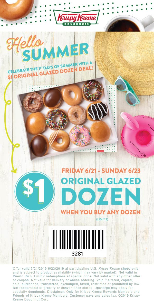 Krispy Kreme Coupon November 2019 2nd dozen doughnuts for $1 today at Krispy Kreme