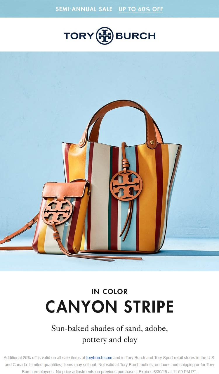 Tory Burch Coupon November 2019 Extra 25% off sale items at Tory Burch, ditto online