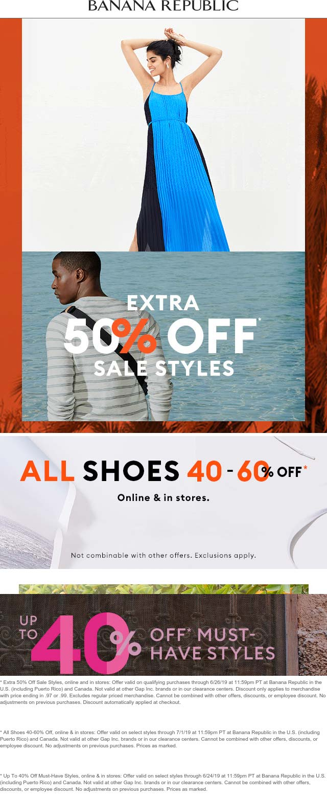 Banana Republic Coupon August 2020 Extra 50% off sale items at Banana Republic, ditto online