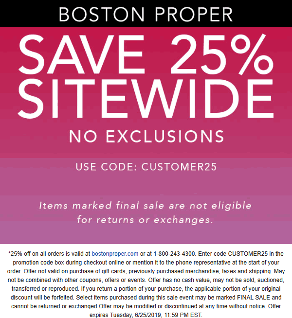 Boston Proper Coupon July 2020 25% off everything online at Boston Proper via promo code CUSTOMER25