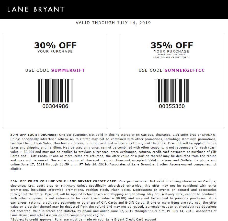 LaneBryant.com Promo Coupon 30% off at Lane Bryant, or online via promo code SUMMERGIFT